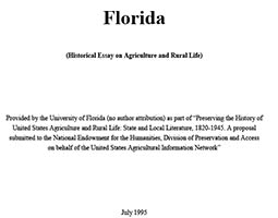 florida historical essay on agriculture and rural life