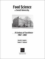 Food Science At Cornell University A Century Of Excellence 1902 2002